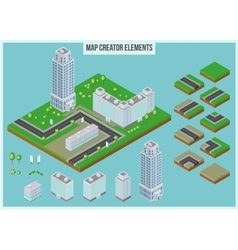 Isometric map creator elements for city building vector