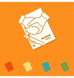 Financial agreement handshake vector