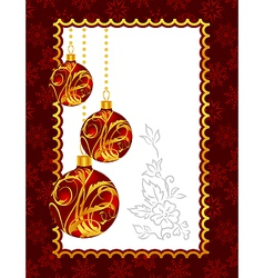 Celebration christmas card with balls - vector