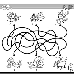 Maze game coloring page vector
