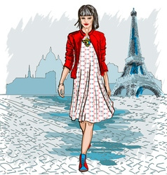 French lady strolling the streets of paris vector