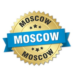Moscow round golden badge with blue ribbon vector