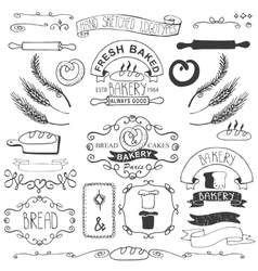 Vintage bakery labels elementshand sketched vector