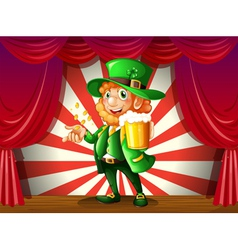 A man holding a beer and coins in the stage vector image vector image