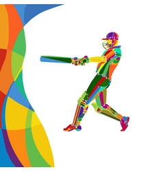 abstract cricket player bright color vector image