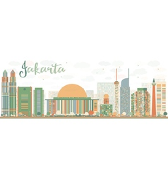 Abstract jakarta skyline with color landmarks vector