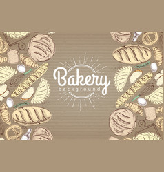 Bakery background top view of bakery products on vector