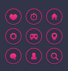 basic web icons set favourite contact us vector image vector image