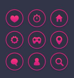basic web icons set favourite contact us vector image