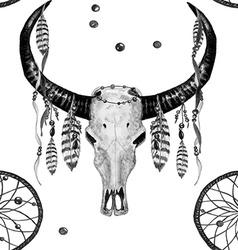 Buffalo skull dreamcatcher feather bw pattern vector