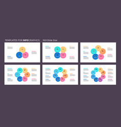 Business infographics pie charts with 3 - 8 steps vector