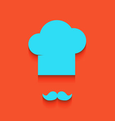 Chef hat and moustache sign whitish icon vector