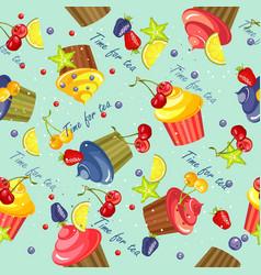 Cupcake pattern seamless vector