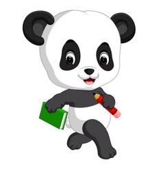 Cute panda holding pencil and book vector