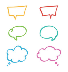 doodle hand drawn colorful speech bubbles set vector image