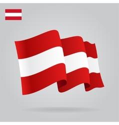 Flat and waving Austrian Flag vector image