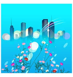 Floral Cityscape Background vector image