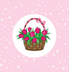 gift basket with tulips vector image vector image