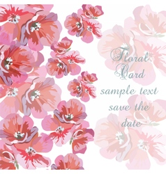 Greeting card with pink watercolor flowers vector image