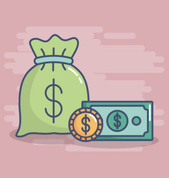 money related icons vector image vector image