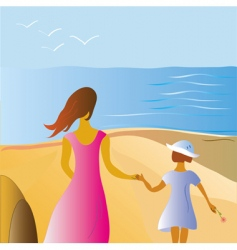 mother and child at beach vector image