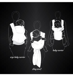 Mothers with children in a sling on black vector