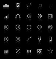 Music line icons with reflect on black background vector image vector image
