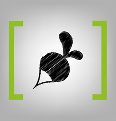 Radish simple sign black scribble icon in vector