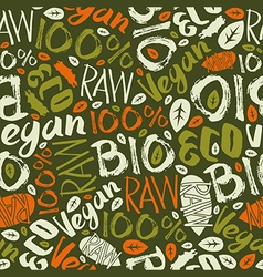 Raw vegan seamless pattern vector image vector image