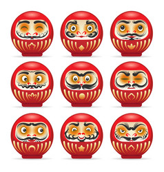 Red daruma japanese dolls set vector