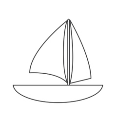 Sailboat navigation water recreation thin line vector
