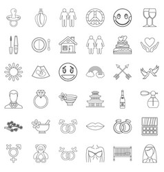 Sensitivity icons set outline style vector