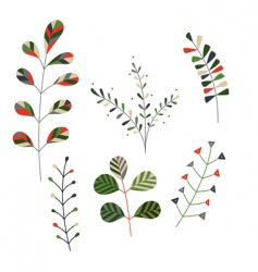 set of decorative plants vector image vector image