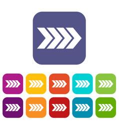 Striped arrow icons set vector
