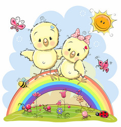 two chickens are sitting on the rainbow vector image vector image