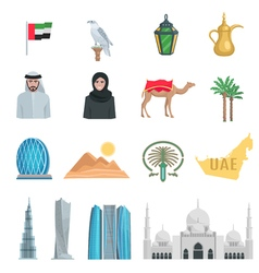 United Arab Emirates Flat Icons vector image vector image