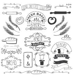 Vintage bakery labels elementshand sketched vector