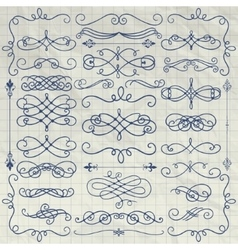 Vintage pen drawing swirls collection on crumpled vector