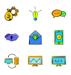 Web icons set cartoon style vector