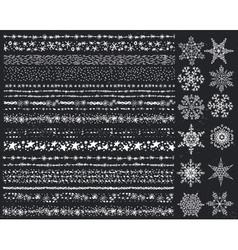 Winter snow seamless borderssnowflakes setChalk vector image