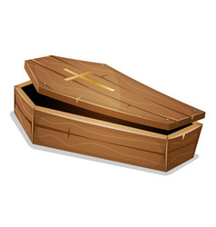 Wood coffin with christian cross vector