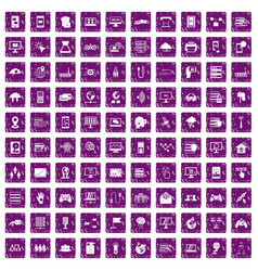 100 network icons set grunge purple vector image vector image