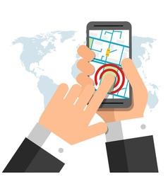 Smartphone screen hand holding smartphone finger vector