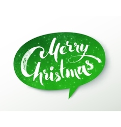 Green paper merry christmas banner vector
