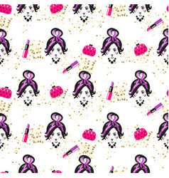 chic girl face and purses fashion seamless pattern vector image