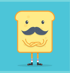 Toast bread with mustache vector