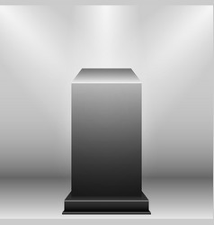 Black pedestal with light source isolated on grey vector