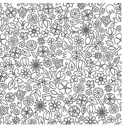 Floral doodle seamless pattern flower icon gentle vector
