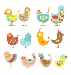 Cute chickens vector