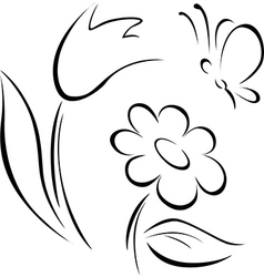 Spring flower outline vector